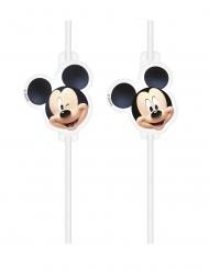 4 plastic rietjes met Mickey™ afbeelding