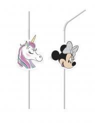 6 plastic Minnie en de eenhoorn™ rietjes met afbeelding
