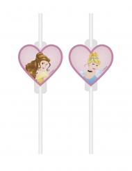 4 kartonnen Disney Dreaming Princesses™ rietjes met afbeelding