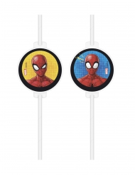 4 Spiderman™ rietjes met kartonnen afbeelding
