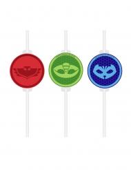 4 kartonnen PJ Masks™ rietjes met afbeelding
