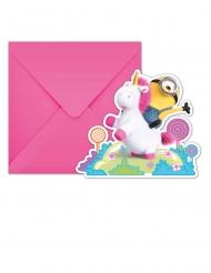 6 Minions Eenhoorn™ uitnodigingen met enveloppen