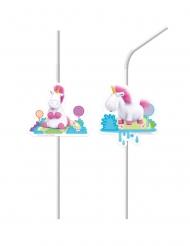 6 plastic Minions Eenhoorn™ rietjes