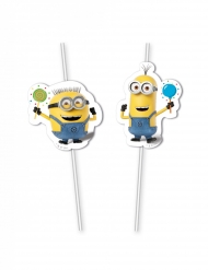6 plastic Minions™ balloon party rietjes
