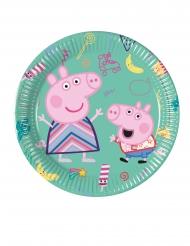 8 kleine groene kartonnen Peppa Pig™ borden