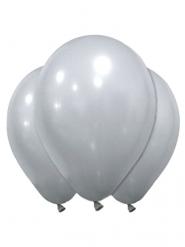 12 zilverkleurige latex ballonnen