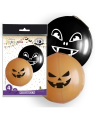 4 grote latex oranje en zwarte Halloween ballonnen