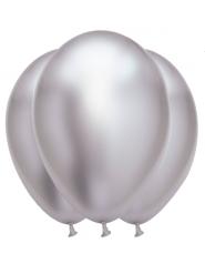 6 satijnachtige zilverkleurige latex ballonnen