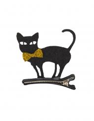 Zwarte kat haarspeld van vilt