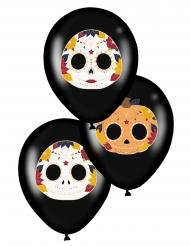 6 zwarte latex Dia de los Muertos ballonnen