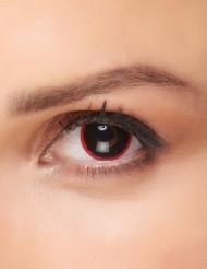 Zwarte contactlenzen met rode rand voor volwassenen