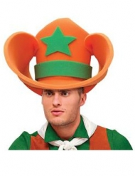 Grote oranje en groene cowboyhoed van schuim voor volwassenen