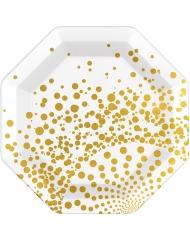 6 luxe goudkleurige en witte borden