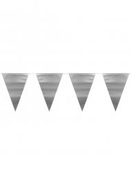 Metallic zilverkleurige vlaggenslinger