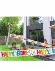Veelkleurige happy birthday stippen banner