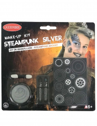 Zilverkleurige steampunk schmink set