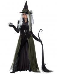 Lange groene en zwarte gothic heks outfit voor volwassenen