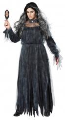 Grijze en zwarte gothic bruid kostuum voor vrouwen