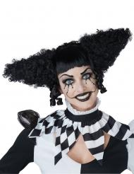 Zwarte clown psycho pruik voor vrouwen