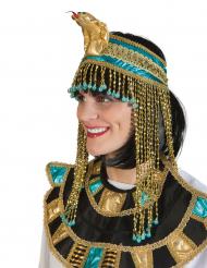 Blauwe en goudkleurige Egyptische koningin muts