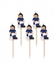 5 blauwe en zwarte voetbalspeler kaarsjes