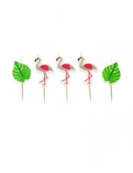 5 flamingo kaarsjes op prikker