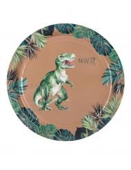 8 groene en goudkleurige kartonnen dinosaurus borden