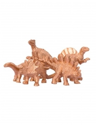 5 goudkleurige dinosaurus decoraties