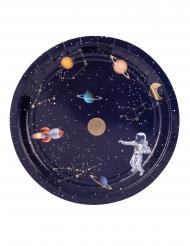 8 kartonnen donkerblauwe en goudkleurige astronaut borden