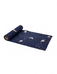 Donkerblauwe en goudkleurige linnen astronaut tafelloper