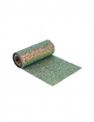 Veelkleurige groene en blauwe glitter tafelloper