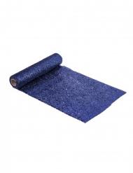 Plastic donkerblauwe glitter tafelloper