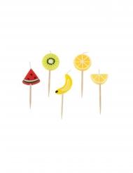 Set van 5 fruit kaarsjes op prikker