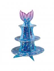 Paarse en blauwe zeemeermin cupcake standaard