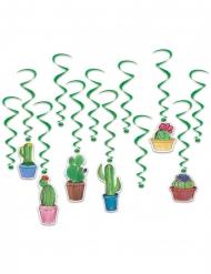 12 groene cactus spiraal hangdecoraties