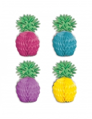 8 papieren veelkleurige mini ananas decoraties