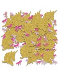 Goudkleurige glitter eenhoorn tafelconfetti