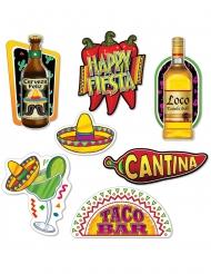 7 kartonnen Mexicaanse Fiesta cutouts