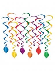 12 veelkleurige ballon spiraaldecoraties