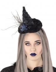 Heksenhoed haarband met blauwe roos voor volwassenen