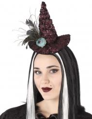 Heks haarband mini hoed met roos voor volwassenen