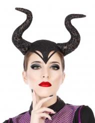 Heksen koningin haarband met hoorns voor volwassenen