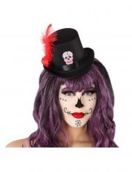 Mini Dia de los Muertos hoge hoed voor volwassenen