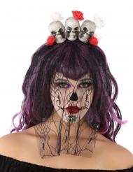 Dia de los Muertos doodskop haarband met sluier voor volwassenen