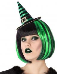 Zwarte en groene gestreepte heksenhoed haarband voor volwassenen