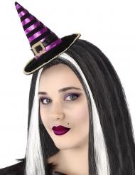 Zwart en paars gestreepte heksen haarband voor volwassenen