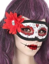 Dia de los Muertos masker met rode bloem voor volwassenen