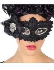 Zwart Dia de los Muertos kanten masker voor volwassenen