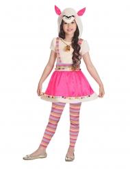 Roze en beige lama kostuum voor meisjes