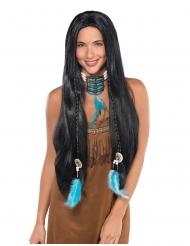 Lange indianen pruik met vlechten voor vrouwen